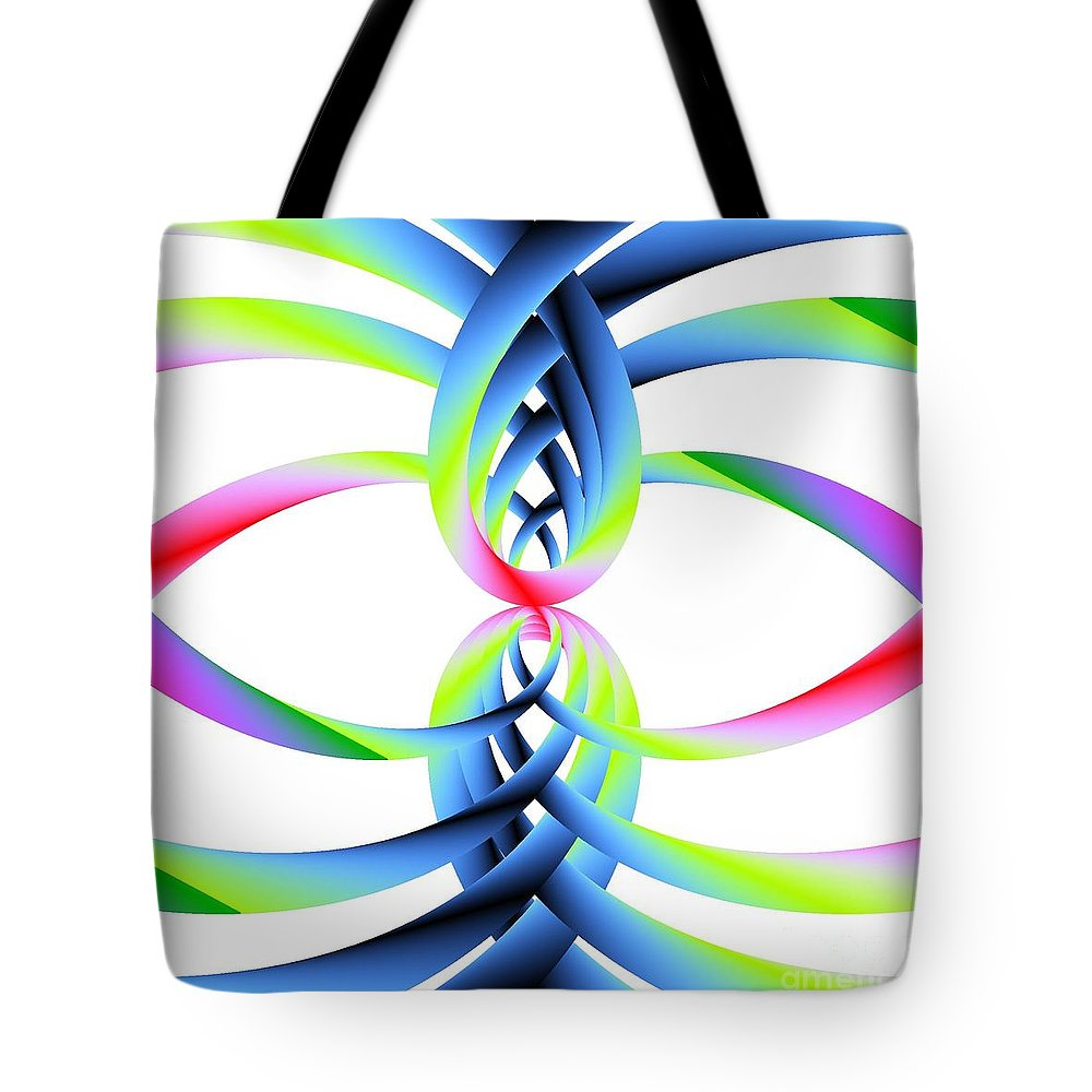 Rainbow Loops Tote Bag featuring the digital art Rainbow Loops by Michael Skinner