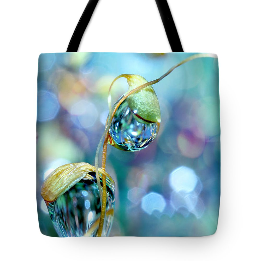 Moss Tote Bag featuring the photograph Rainbow Moss Drops by Sharon Johnstone