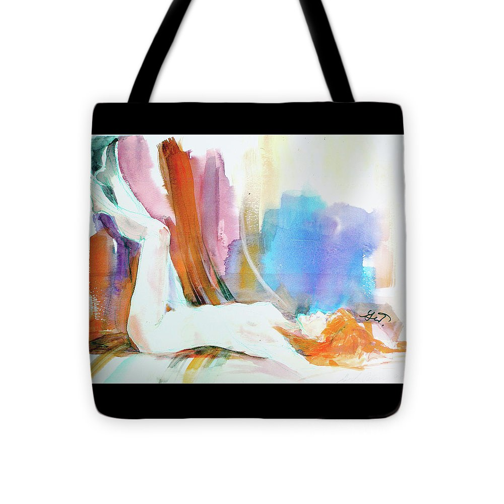 Reclining Tote Bag featuring the painting Rainbow Nude by Gertrude Palmer
