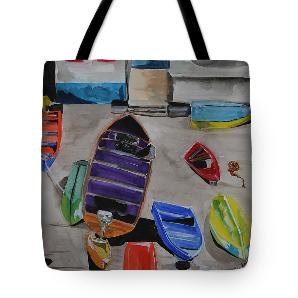 Boats Tote Bag featuring the painting Rainbow On The Dock by Jean Blackmer