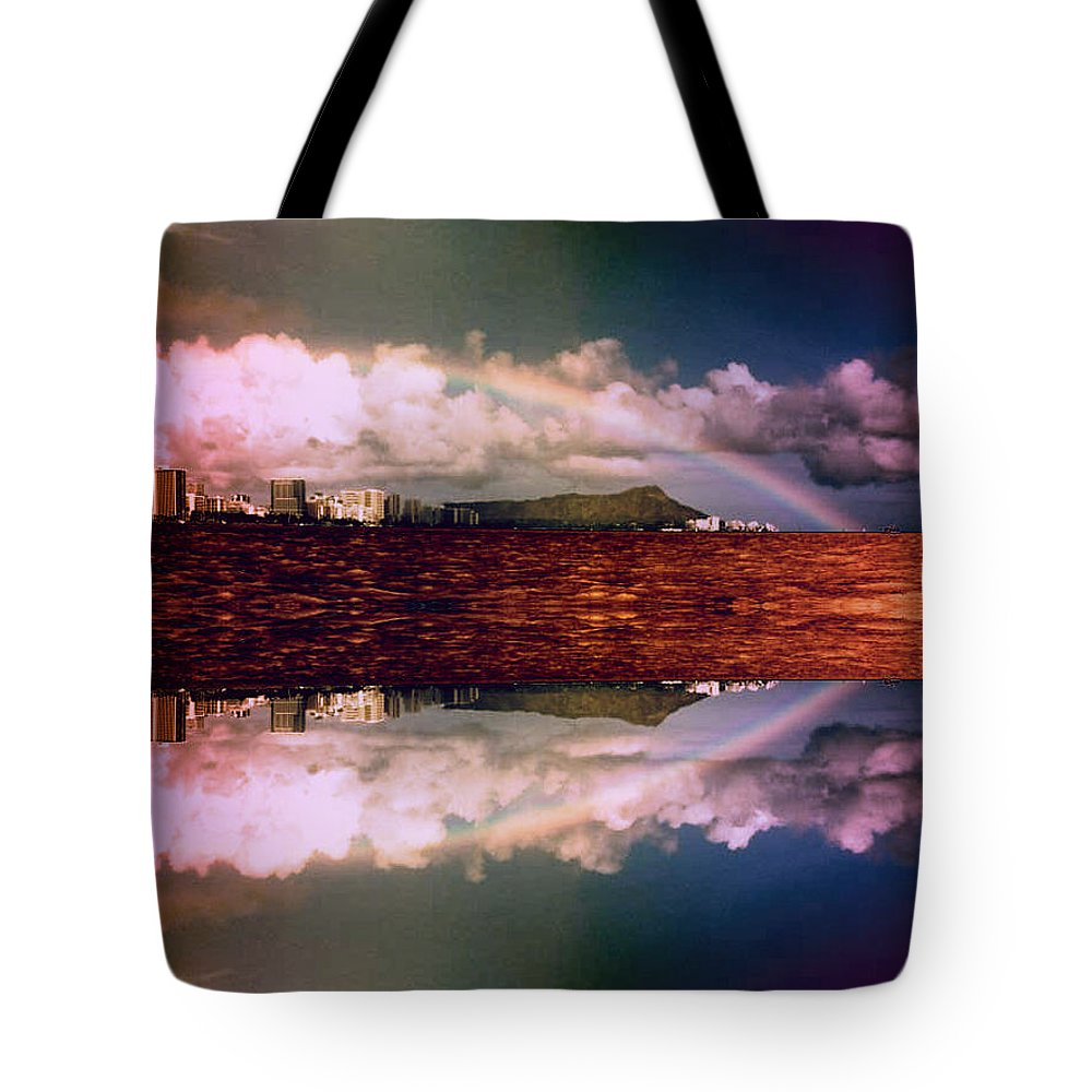 Sanfrancisco Tote Bag featuring the photograph Rainbow Over Alcatraz Symmetry by Michelle Miller