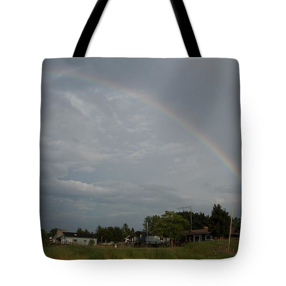 Rainbow Tote Bag featuring the photograph Rainbow Over Beach Cottages by Michelle Miron-Rebbe