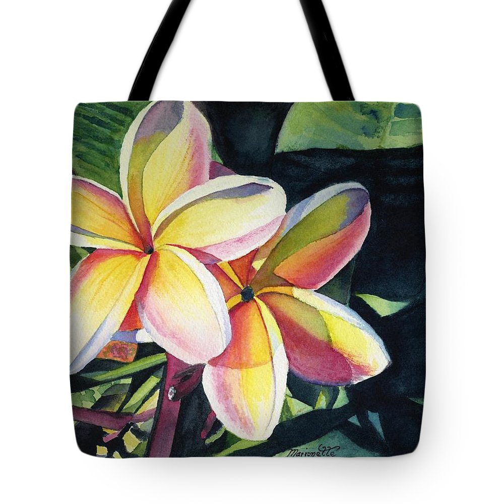 Rainbow Tote Bag featuring the painting Rainbow Plumeria by Marionette Taboniar