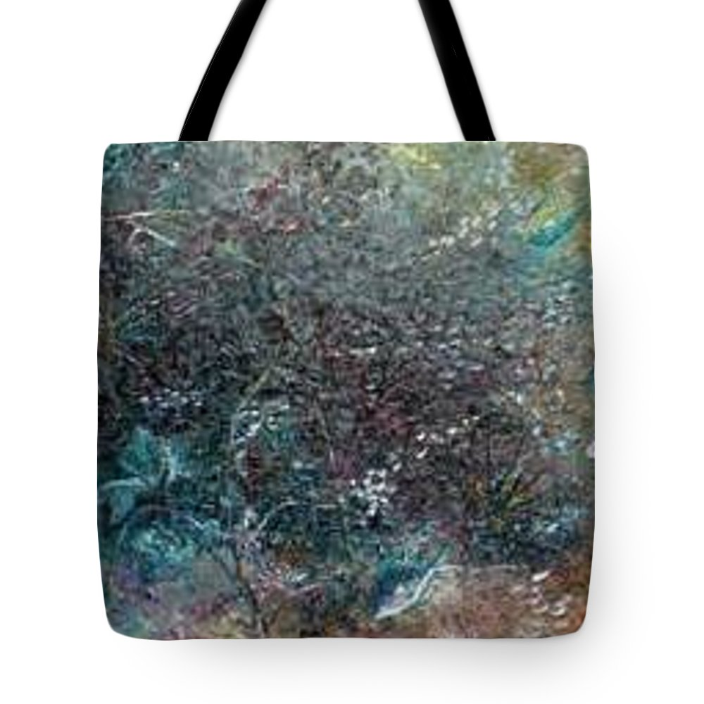 Original Abstract Painting Of Under The Sea Tote Bag featuring the painting Rainbow Reef by Karin Dawn Kelshall- Best