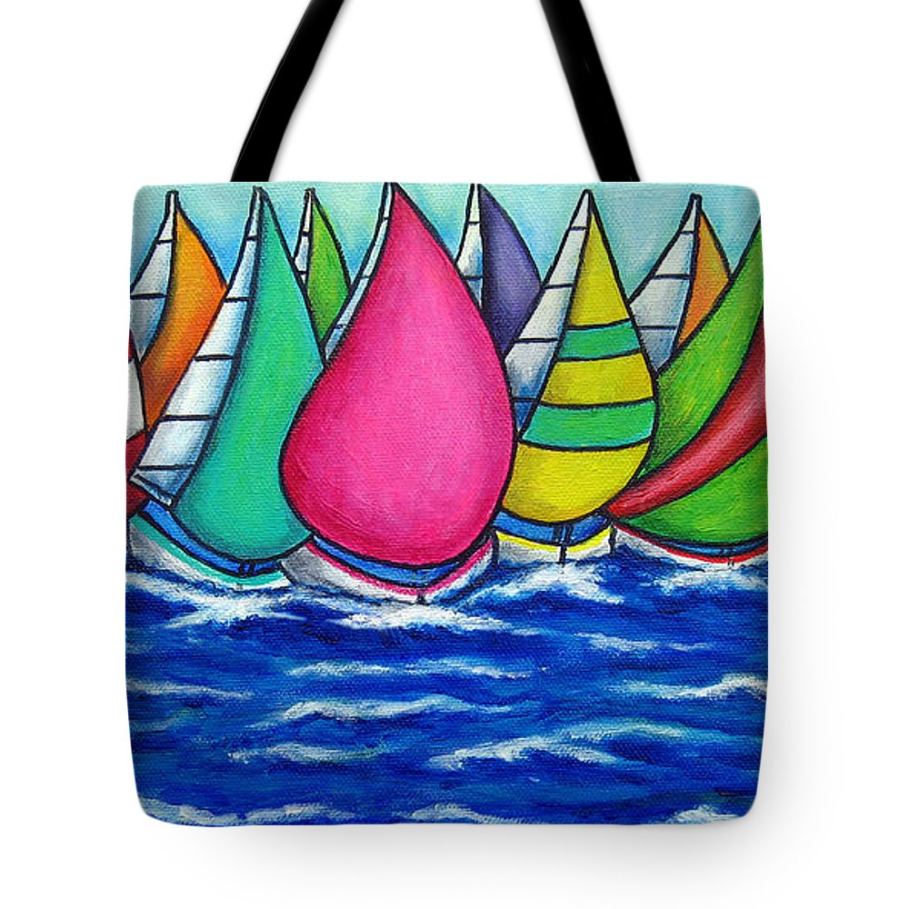 Boats Tote Bag featuring the painting Rainbow Regatta by Lisa Lorenz