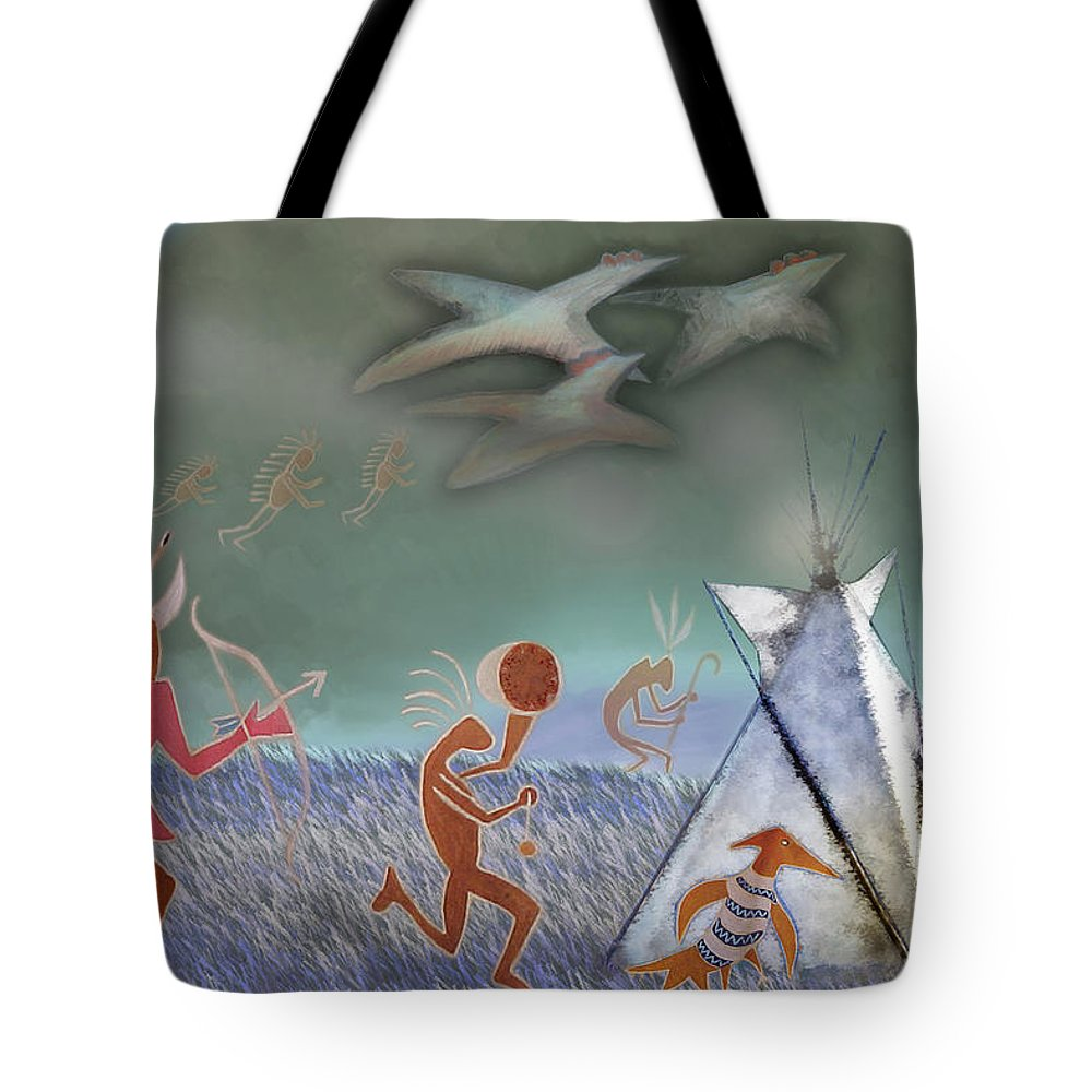 Tipi Tote Bag featuring the painting Rainbow Road by Robert Pratt