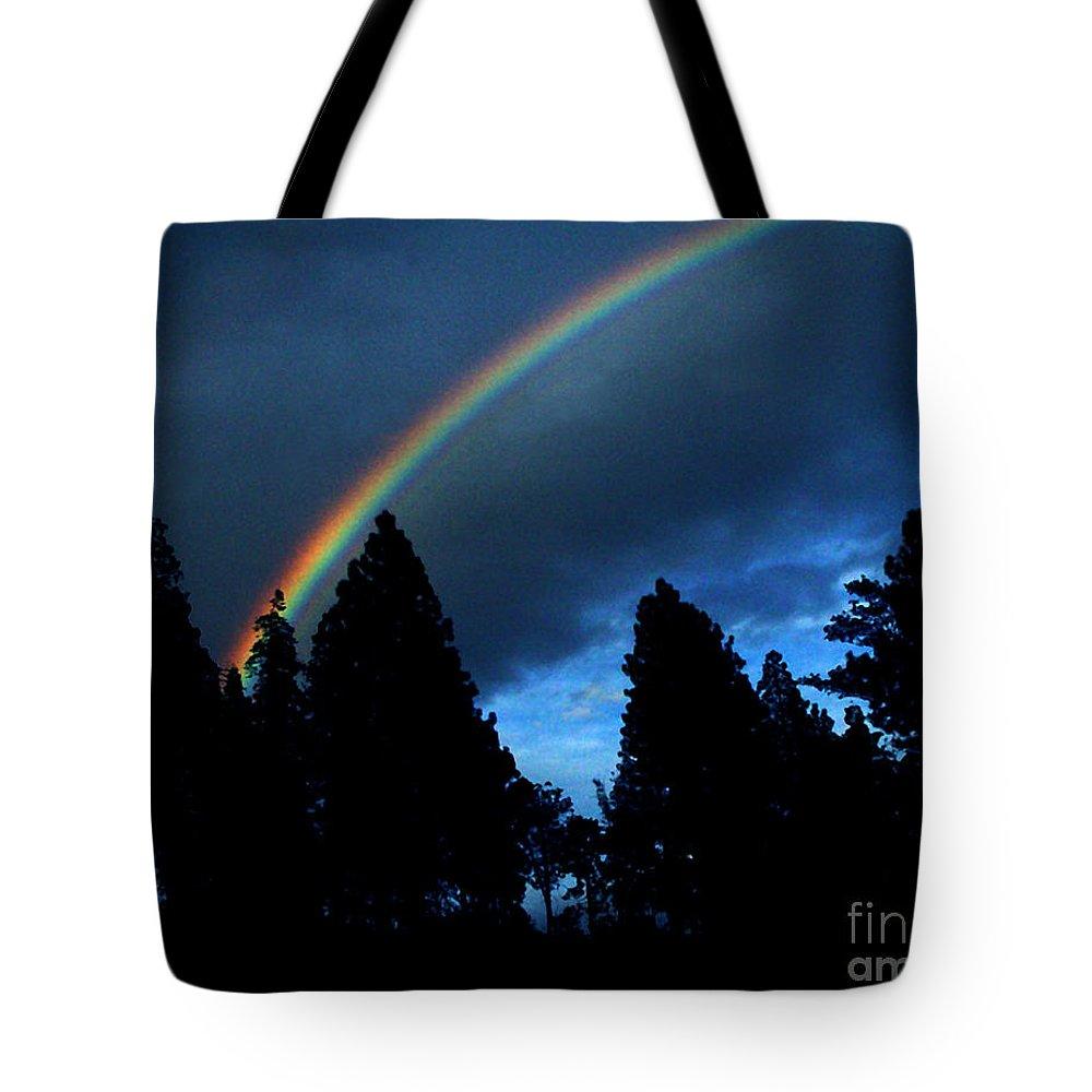 Rainbow Tote Bag featuring the photograph Rainbow Sky by Peter Piatt
