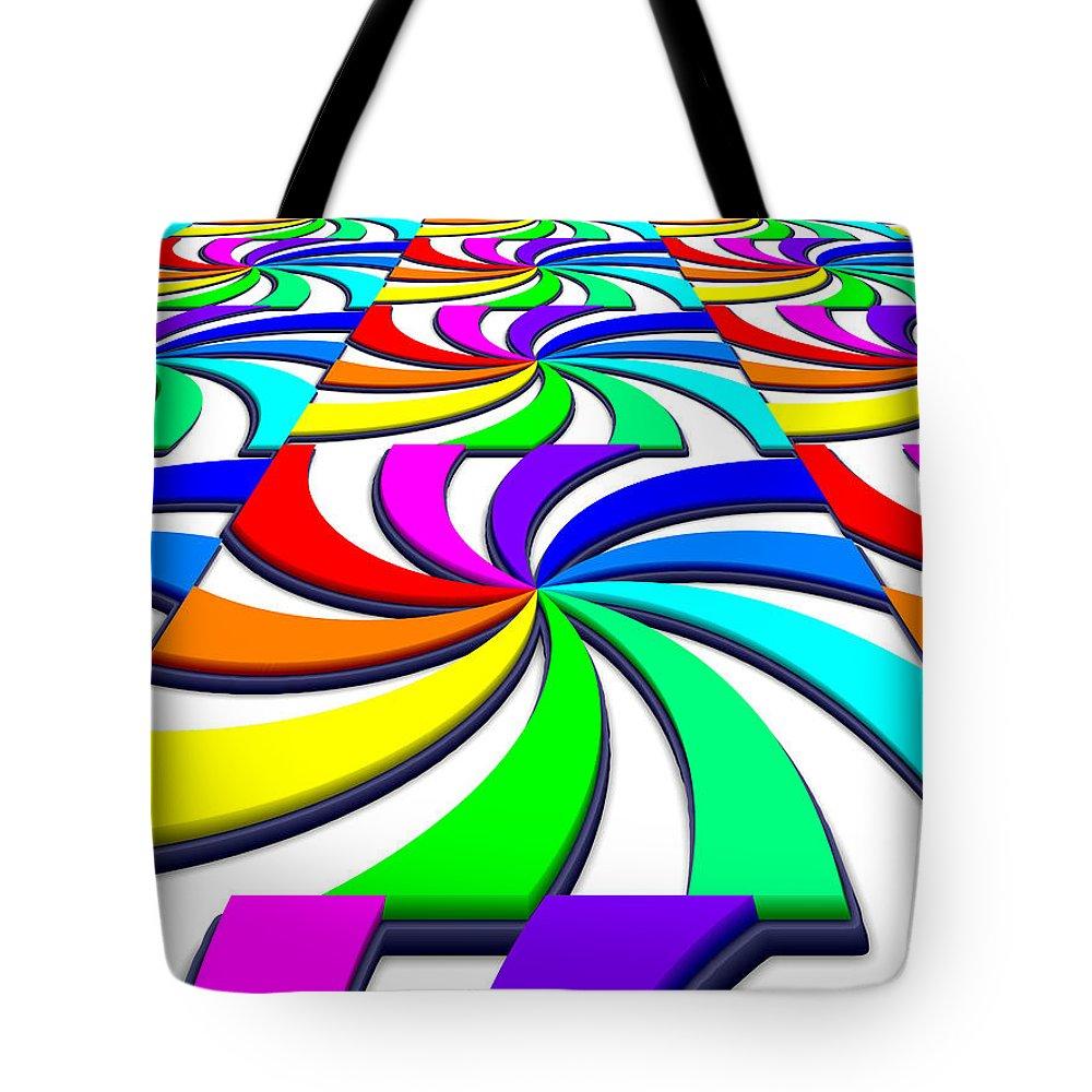 Perspective Tote Bag featuring the digital art Rainbow Spectral Swirl by Miroslav Nemecek