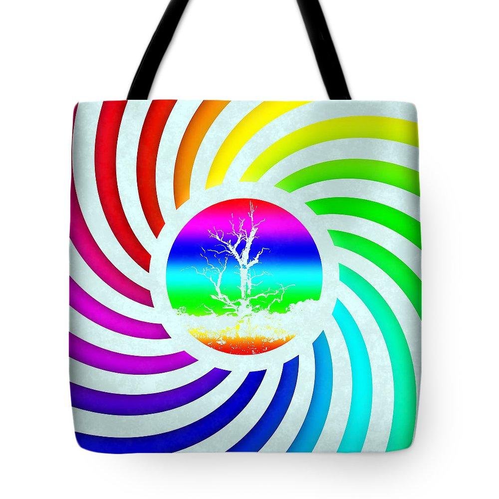 Grunge Tote Bag featuring the digital art Rainbow Swirl Tree by Miroslav Nemecek