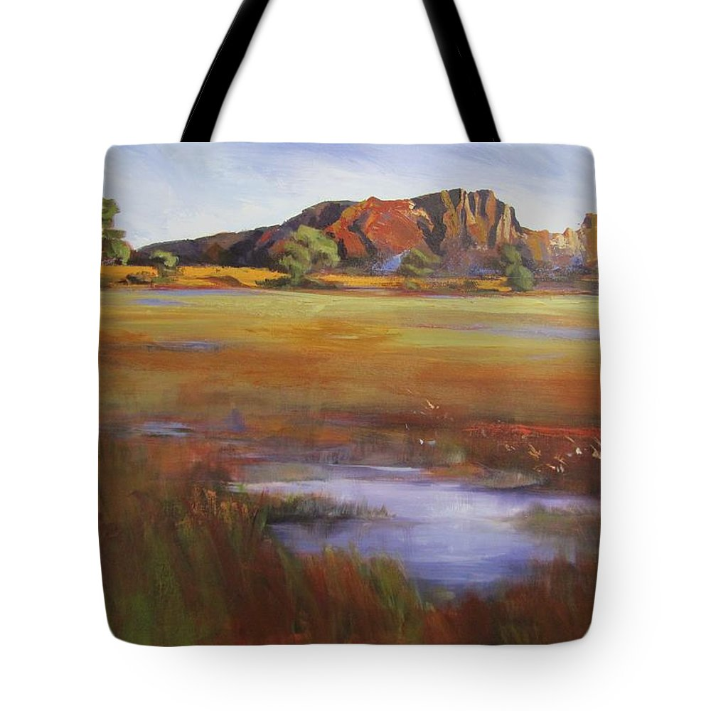 Landscape Tote Bag featuring the painting Rainbow Valley Australia by Chris Hobel