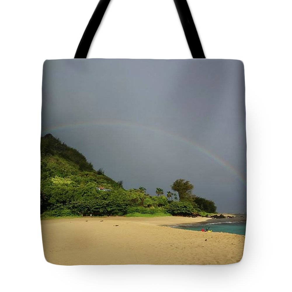 Rainbow Tote Bag featuring the photograph Rainbows End by Cara Packer