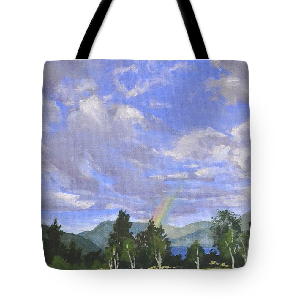Clouds Tote Bag featuring the painting Rainbow's End by Mary Chant