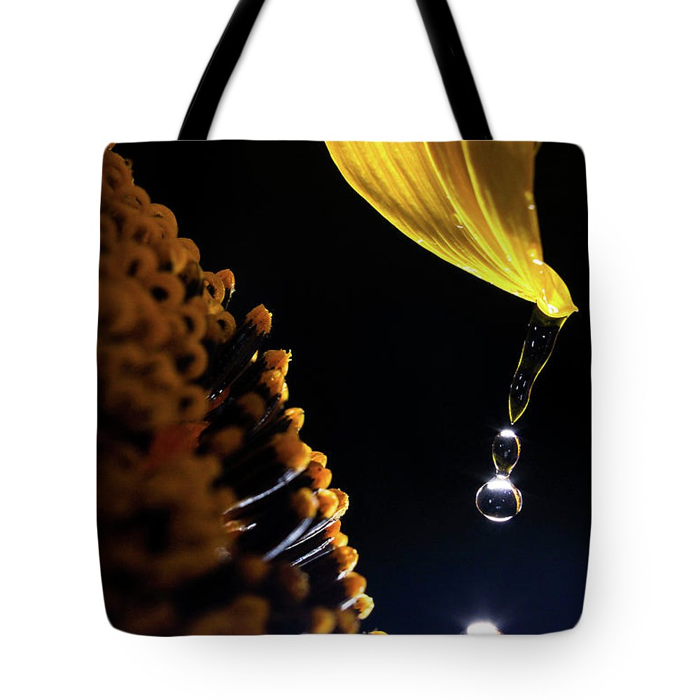 Rain Tote Bag featuring the photograph Raindrops From Sunflower Petal by Cris Ritchie