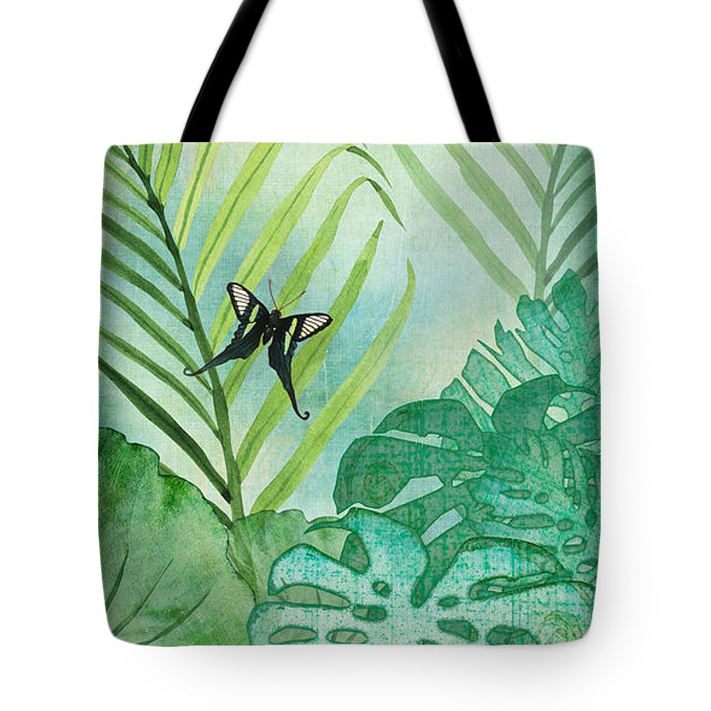 Jungle Tote Bag featuring the painting Rainforest Tropical - Philodendron Elephant Ear And Palm Leaves W Botanical Butterfly by Audrey Jeanne Roberts