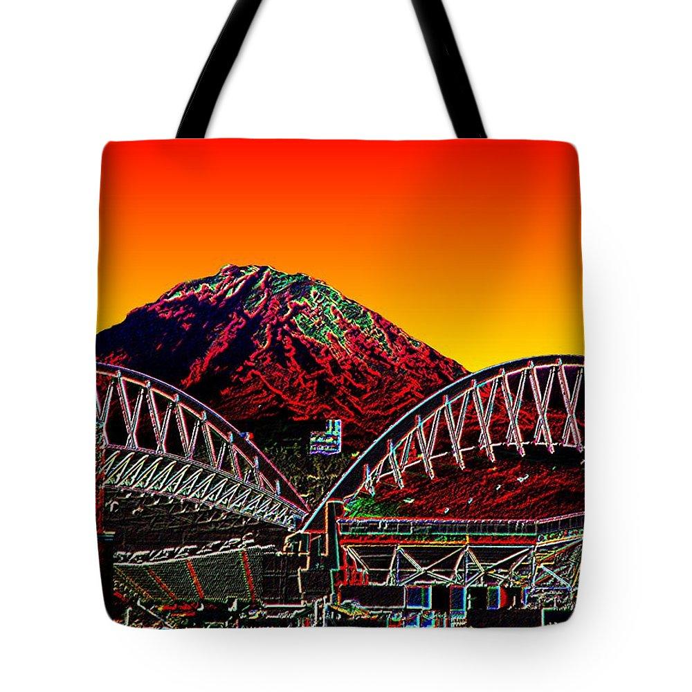 Mount Rainier Tote Bag featuring the photograph Rainier Over Qwest Field by Tim Allen