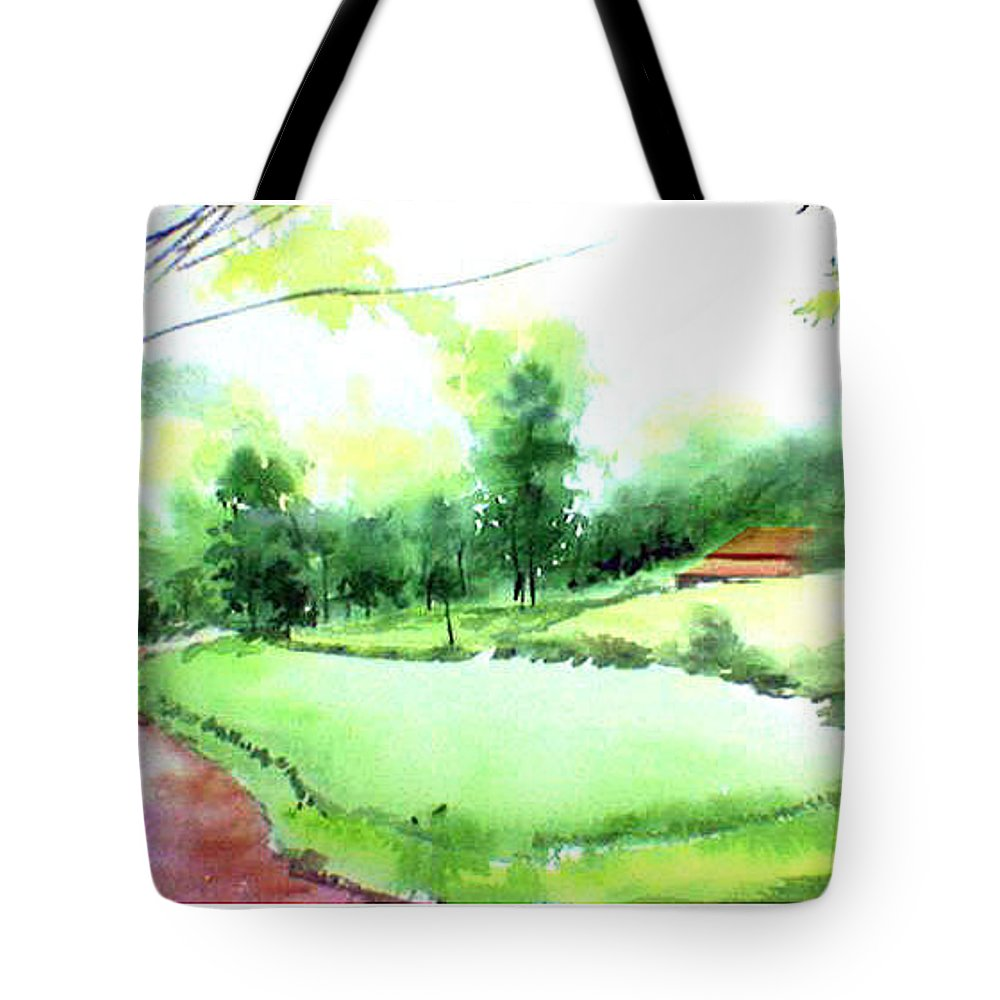 Landscape Tote Bag featuring the painting Rains In West by Anil Nene