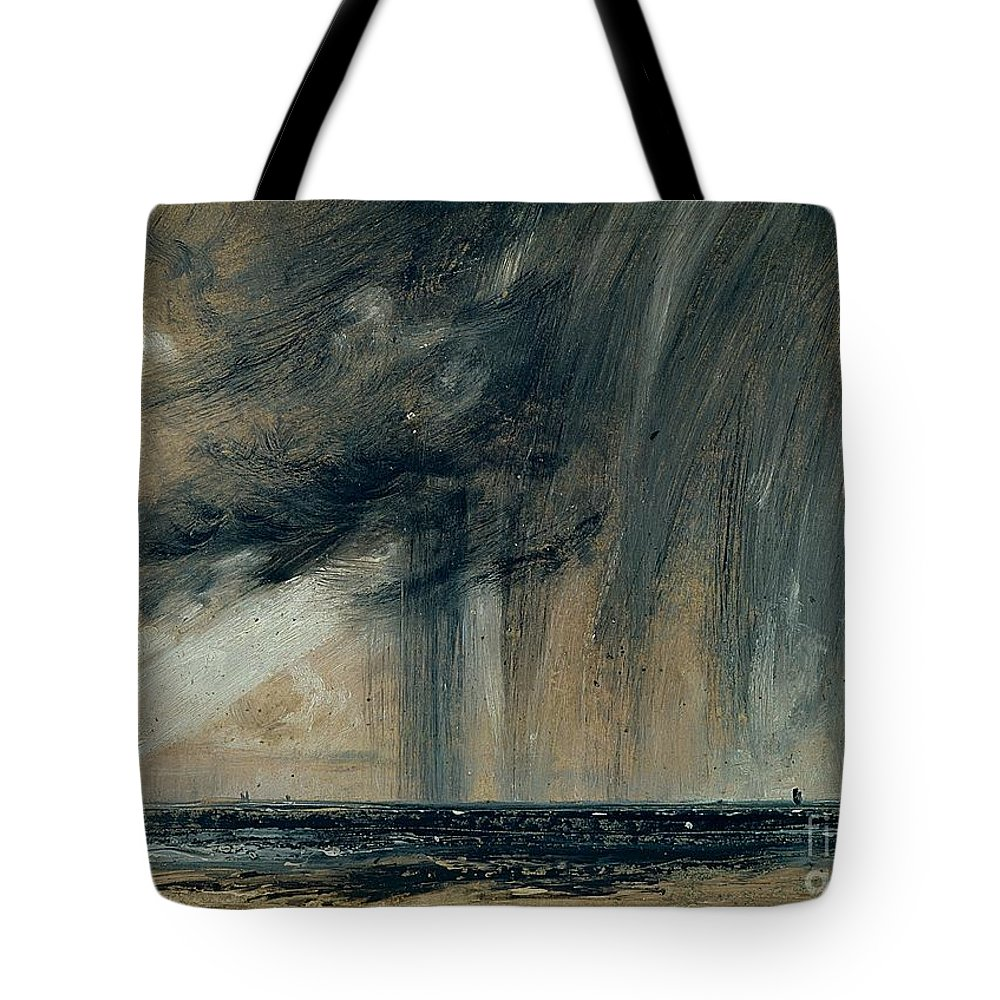 Stormy; Seascape; Rain; Raining; Tempest; Tempestuous; Black Cloud Tote Bag featuring the painting Rainstorm Over The Sea by John Constable