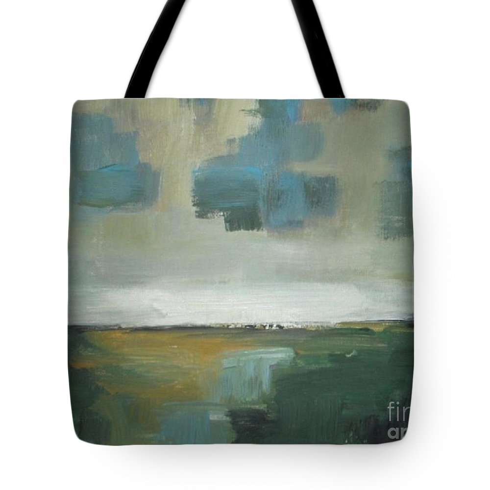 Abstract Tote Bag featuring the painting Rainy Clouds by Vesna Antic