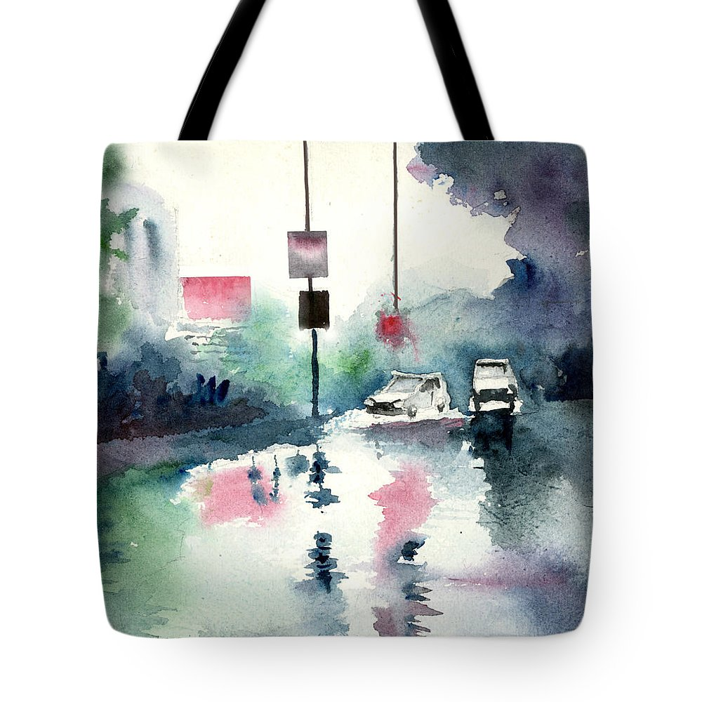 Nature Tote Bag featuring the painting Rainy Day by Anil Nene