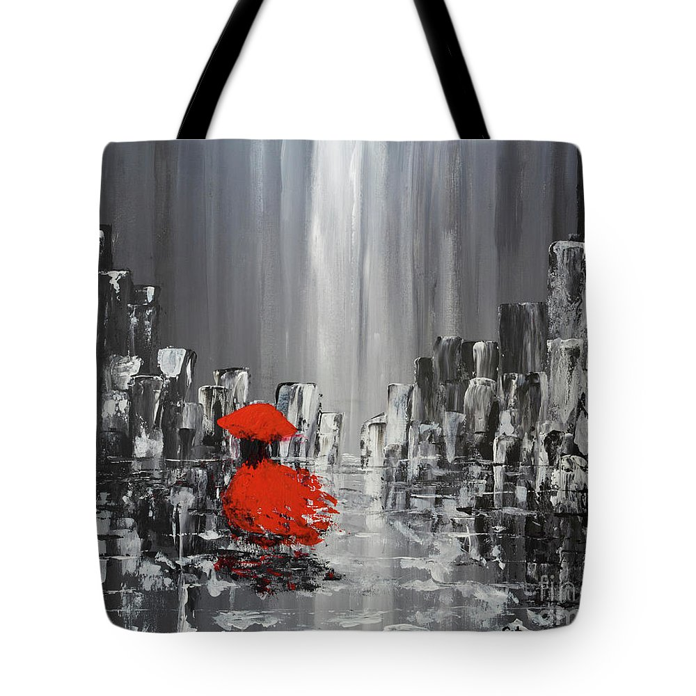 Abstract Painting Tote Bag featuring the painting Rainy Day City Girl In Red by Catalina Walker