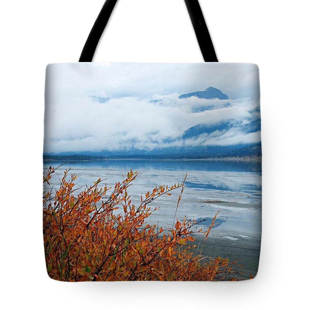 Athabasca River Tote Bag featuring the photograph Rainy Day In The Mountains by Larry Ricker