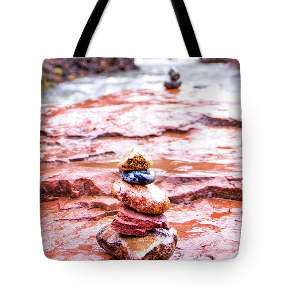 Stones Tote Bag featuring the photograph Rainy Day Stone Cairns In Sedona by Amy Sorvillo
