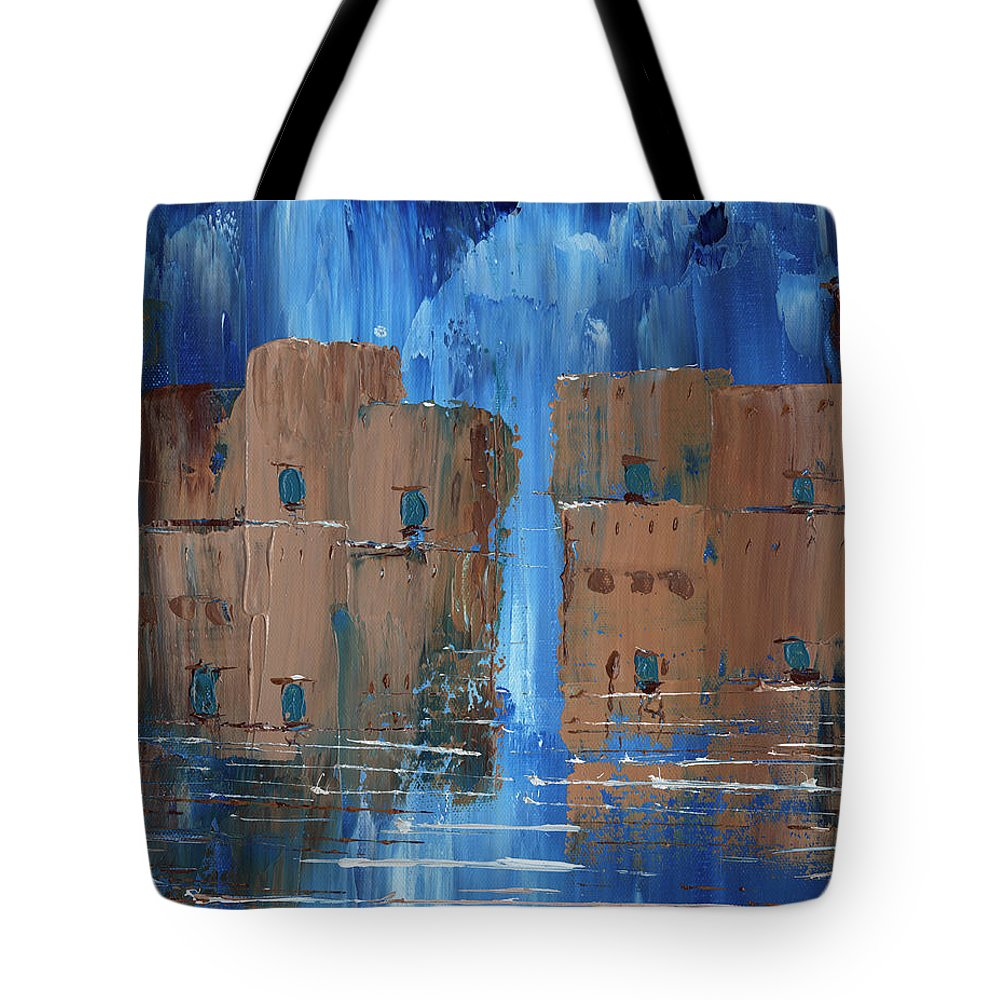 Blue Brown Rain Adobe Tote Bag featuring the painting Rainy Night At The Pueblo by Koni Webb Bosch