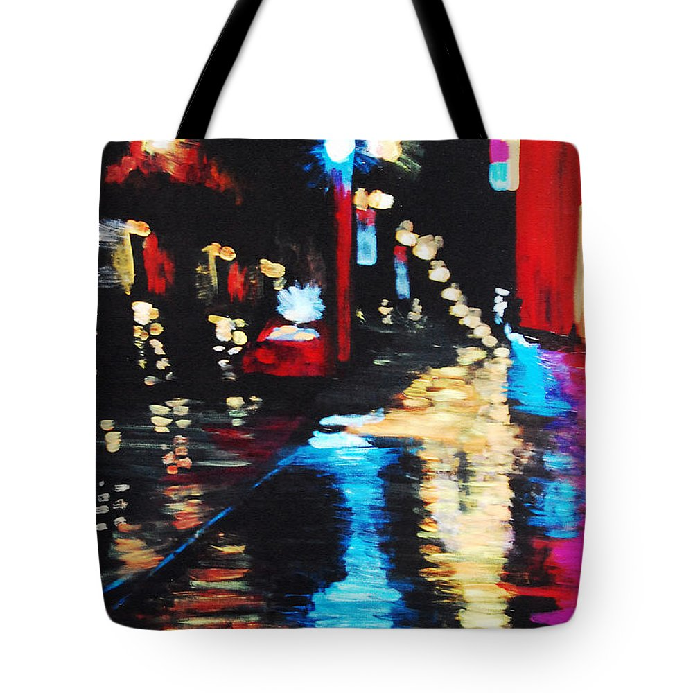 Acrylic Tote Bag featuring the painting Rainy Night by Lauren Luna