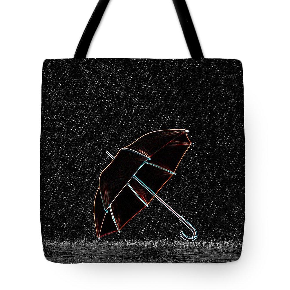 Rain Tote Bag featuring the digital art Rainy Night by Art Spectrum