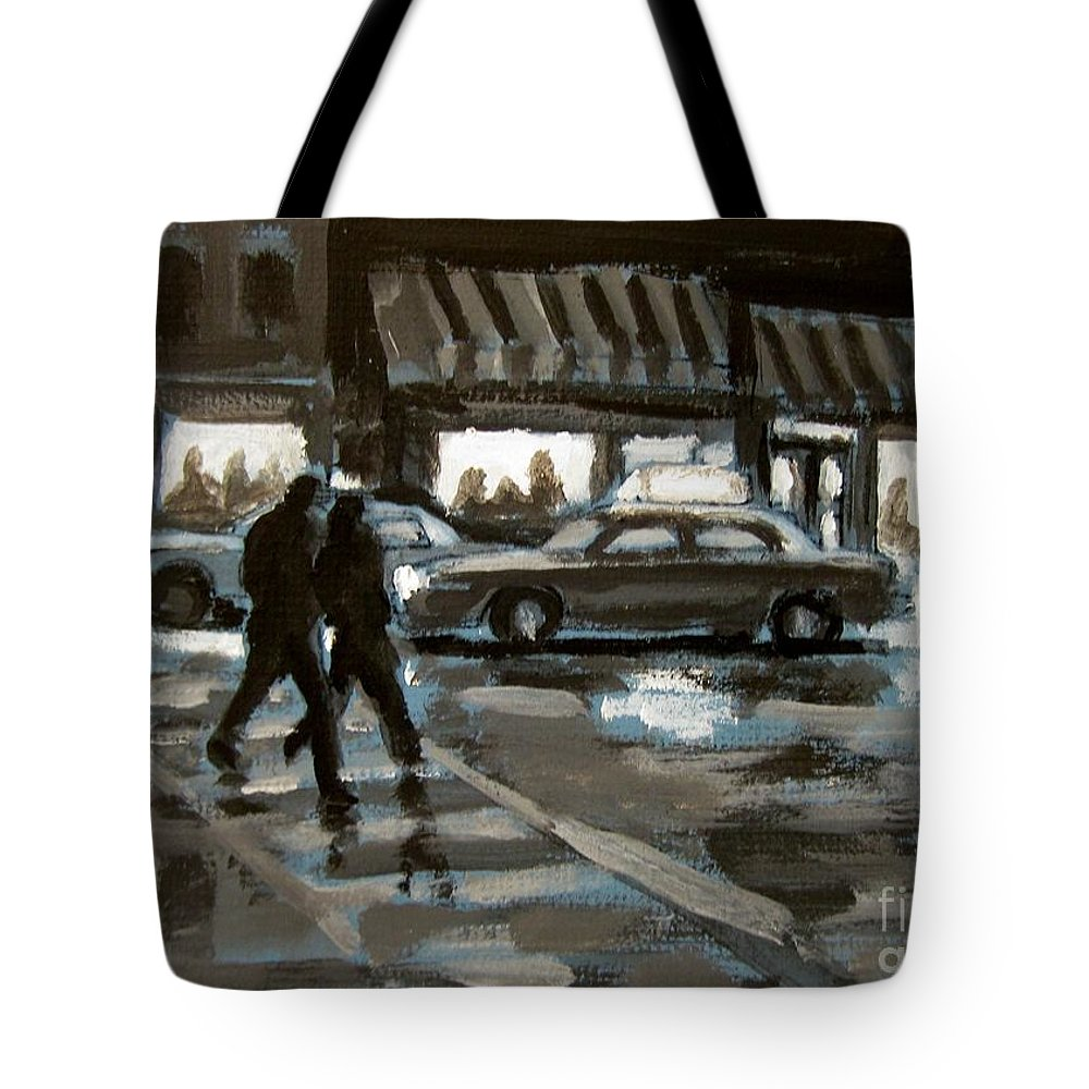 Urban Tote Bag featuring the painting Rainy Nights Downtown by John Malone