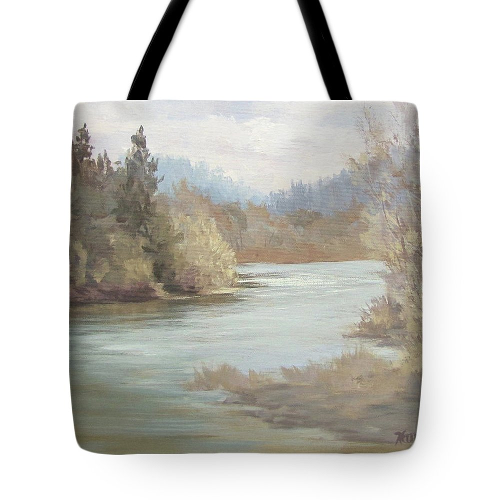Landscape Tote Bag featuring the painting Rainy River by Karen Ilari