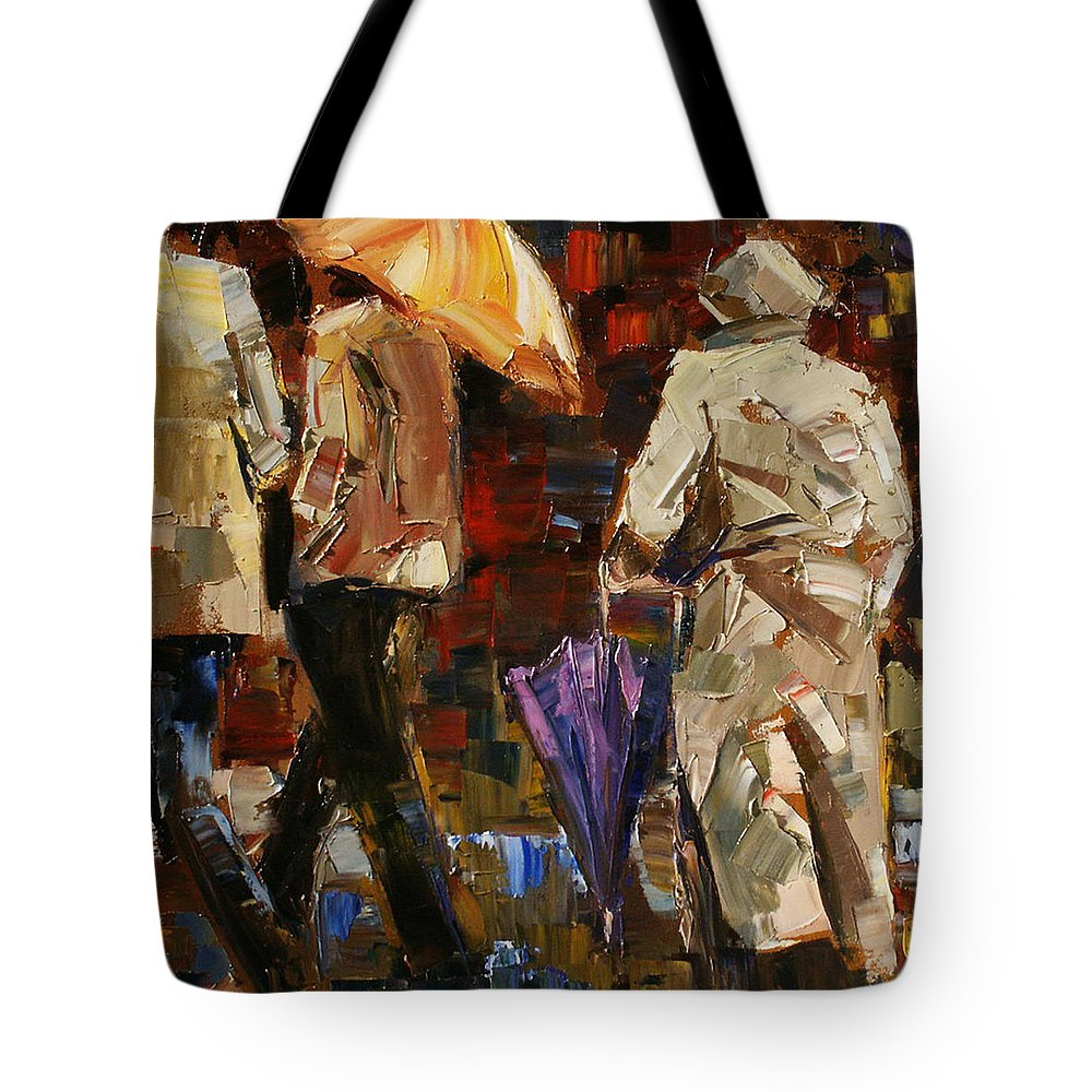 Umbrellas Tote Bag featuring the painting Rainy Season by Debra Hurd