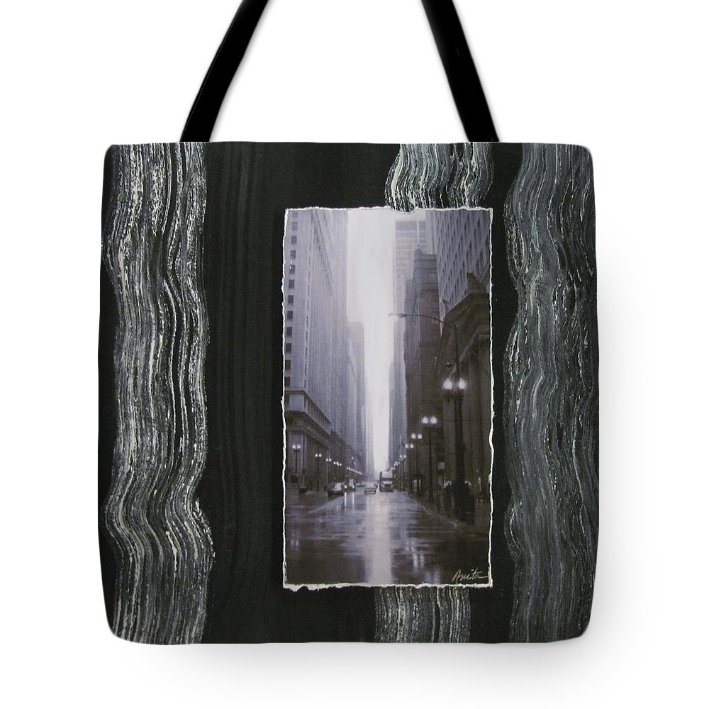 City Tote Bag featuring the mixed media Rainy Street Layered by Anita Burgermeister