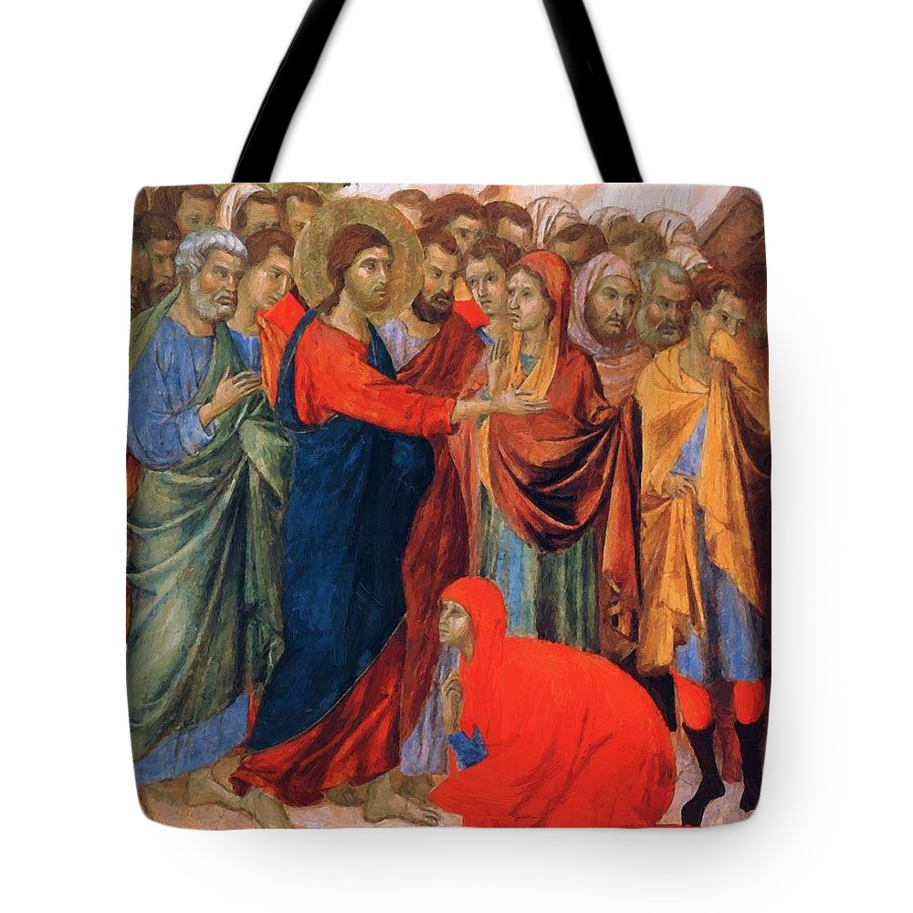 Raising Tote Bag featuring the painting Raising Of Lazarus Fragment 1311 by Duccio