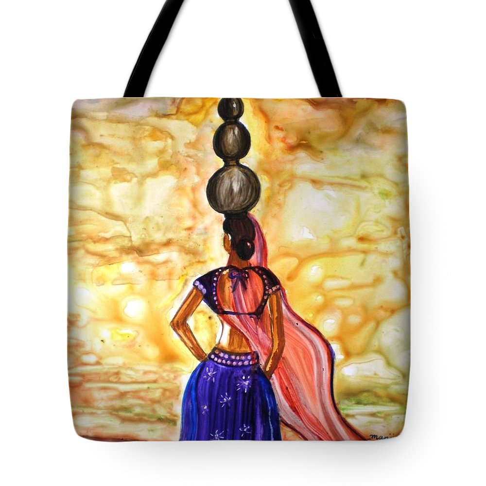 Rajasthani Women Lady Figurative Romantic Indian Village Pots Water Lady Beauty Yupo Paper Tote Bag featuring the painting Rajasthani Lady-Allure by Manjiri Kanvinde