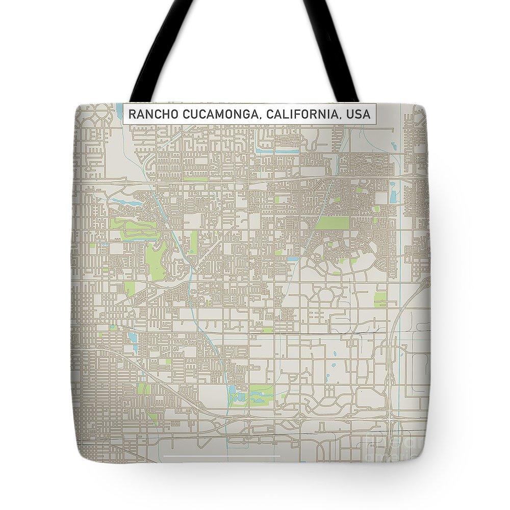 Rancho Cucamonga Tote Bag featuring the digital art Rancho Cucamonga California Us City Street Map by Frank Ramspott