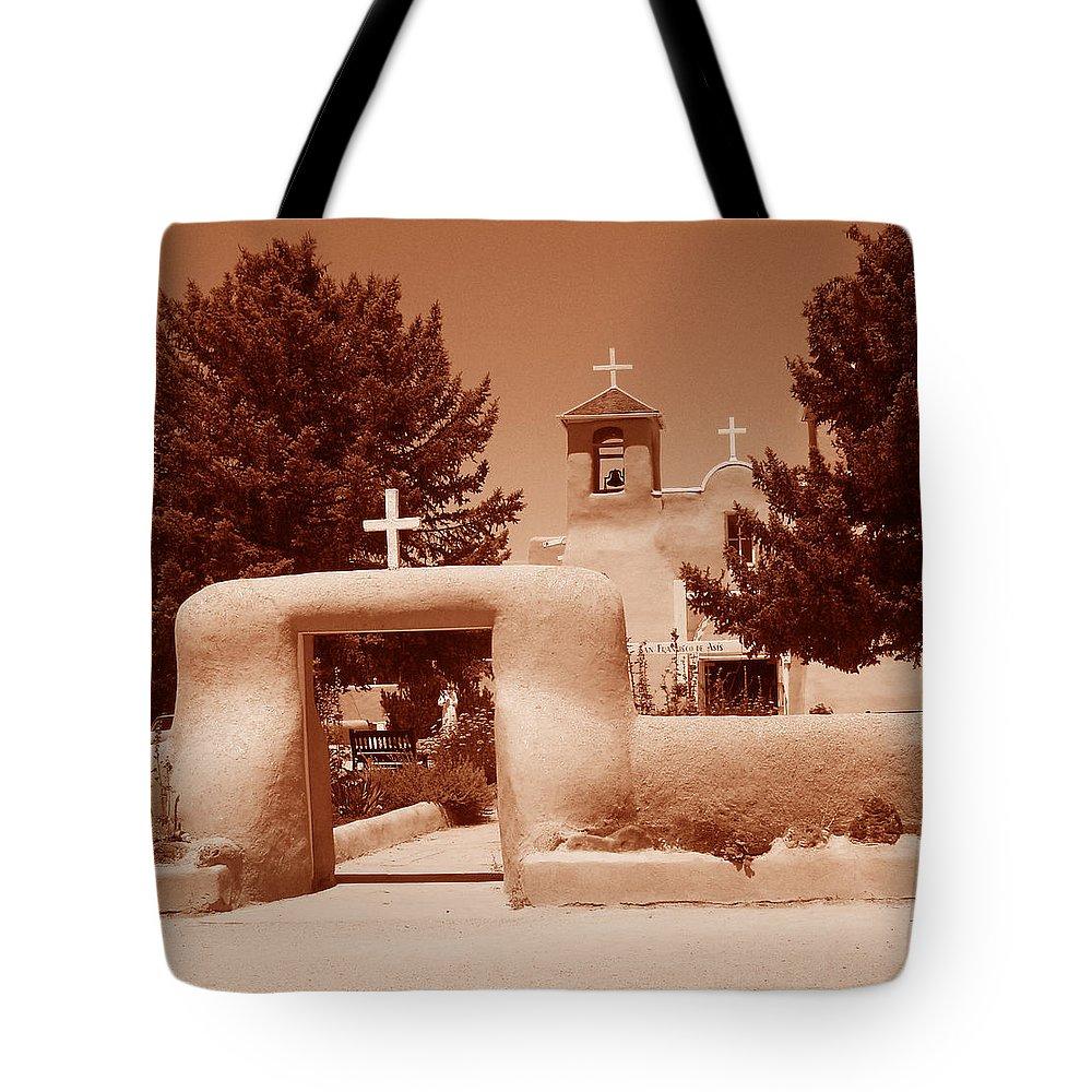 Church Tote Bag featuring the photograph Ranchos De Taos Church  New Mexico by Wayne Potrafka