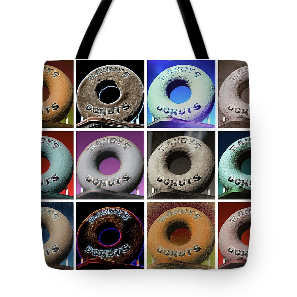 Randy's Donuts Tote Bag featuring the photograph Randy's Donuts - Dozen Assorted by Stephen Stookey