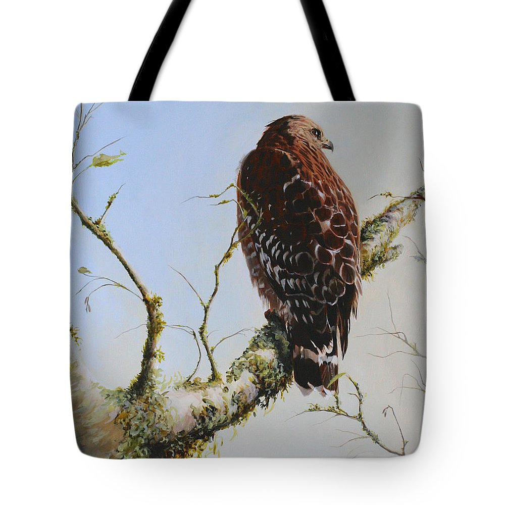 Bird Art Tote Bag featuring the painting Raptor by Kimberly Wurster