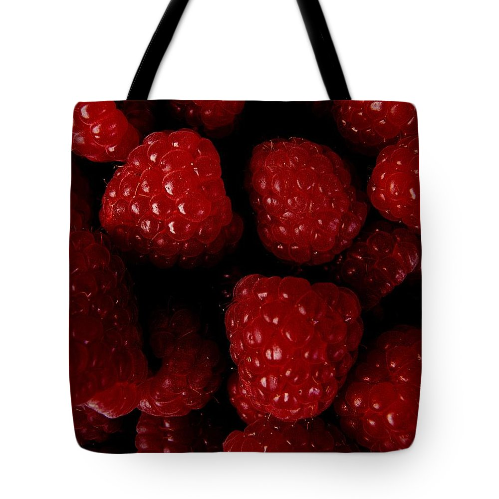 Raspberries Tote Bag featuring the photograph Raspberries by Valerie Ornstein