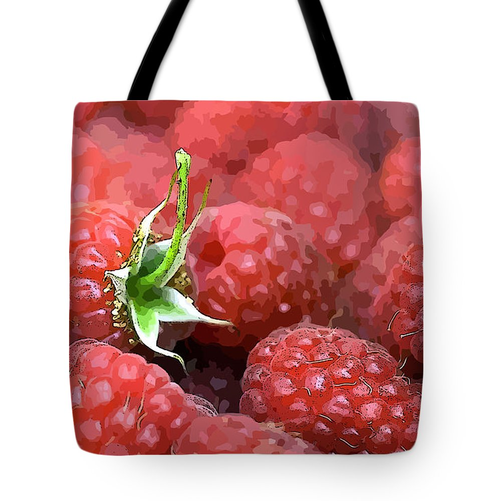 Raspberry Tote Bag featuring the digital art Raspberry by Lora Battle
