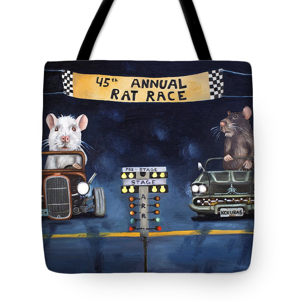 Rat Tote Bag featuring the painting Rat Race by Leah Saulnier The Painting Maniac