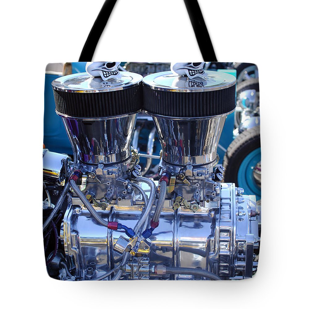 Transportation Tote Bag featuring the photograph Rat Rod Skulls by Jill Reger