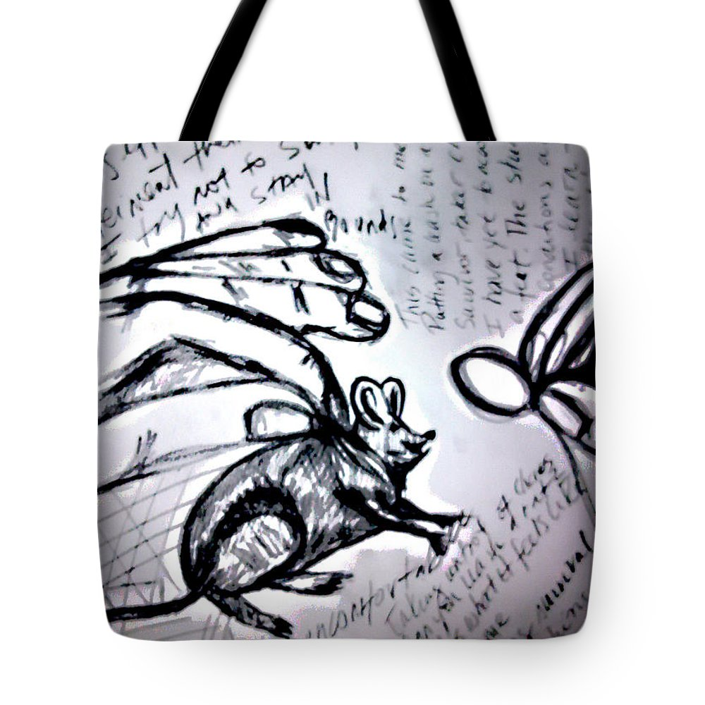 Mouse Tote Bag featuring the drawing Rato De Fino Trato by Joana Lana