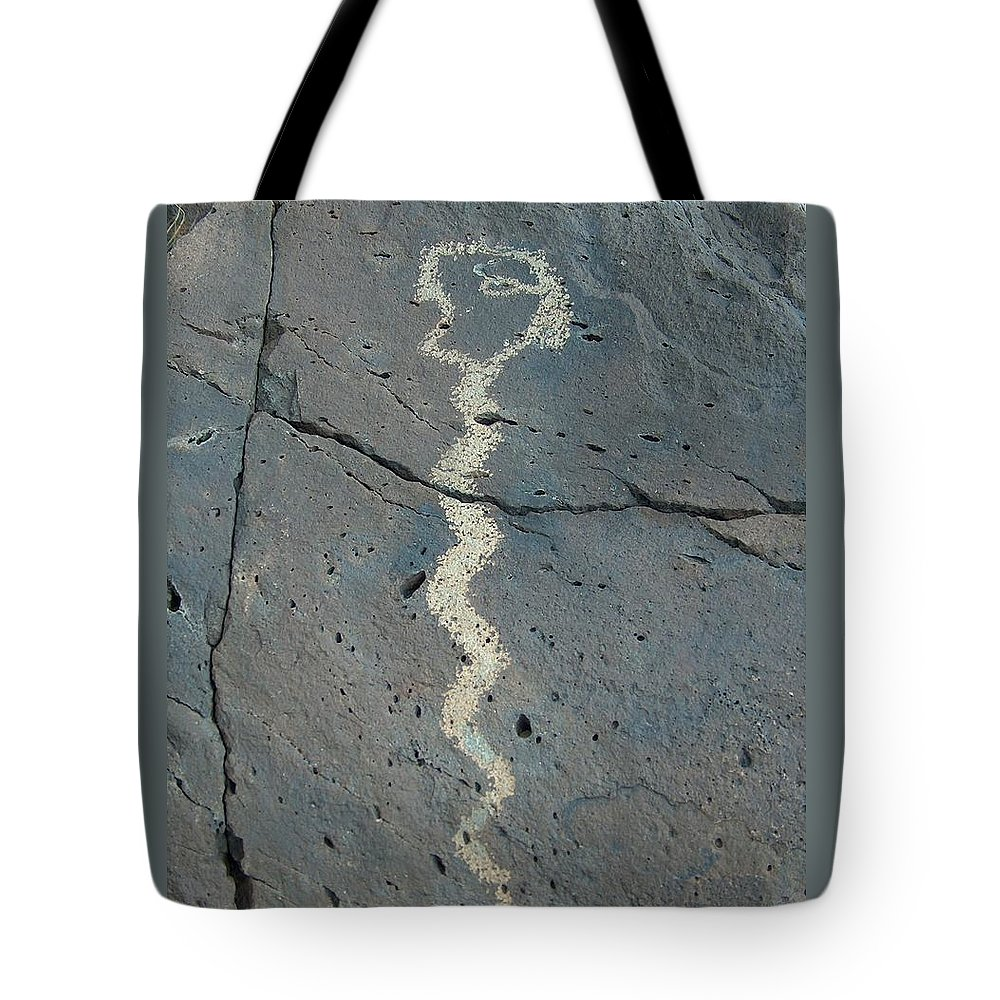 Rattlesnake Tote Bag featuring the photograph Rattlesnake Petroglyph 2 by Tim McCarthy