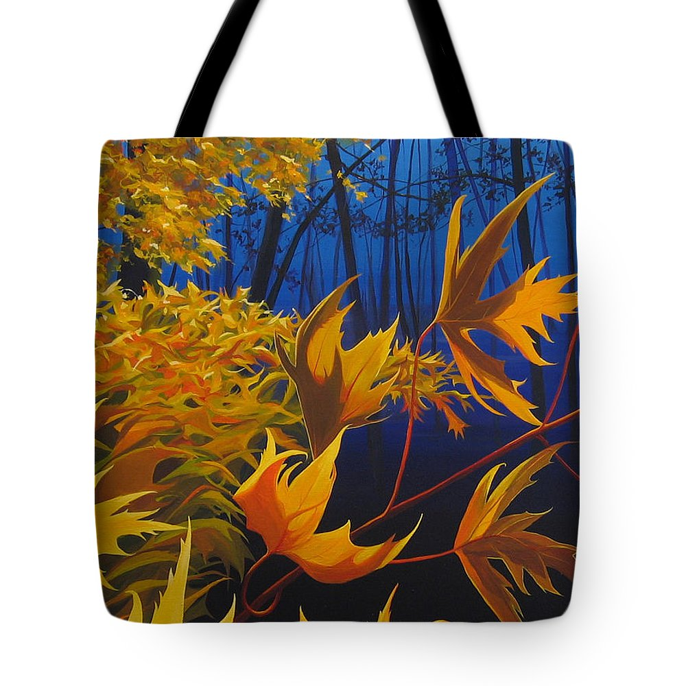 Autumn Leaves Tote Bag featuring the painting Raucous October by Hunter Jay