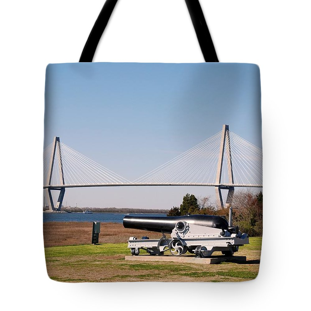 Photography Tote Bag featuring the photograph Ravanel Bridge From The Patriot Point by Susanne Van Hulst