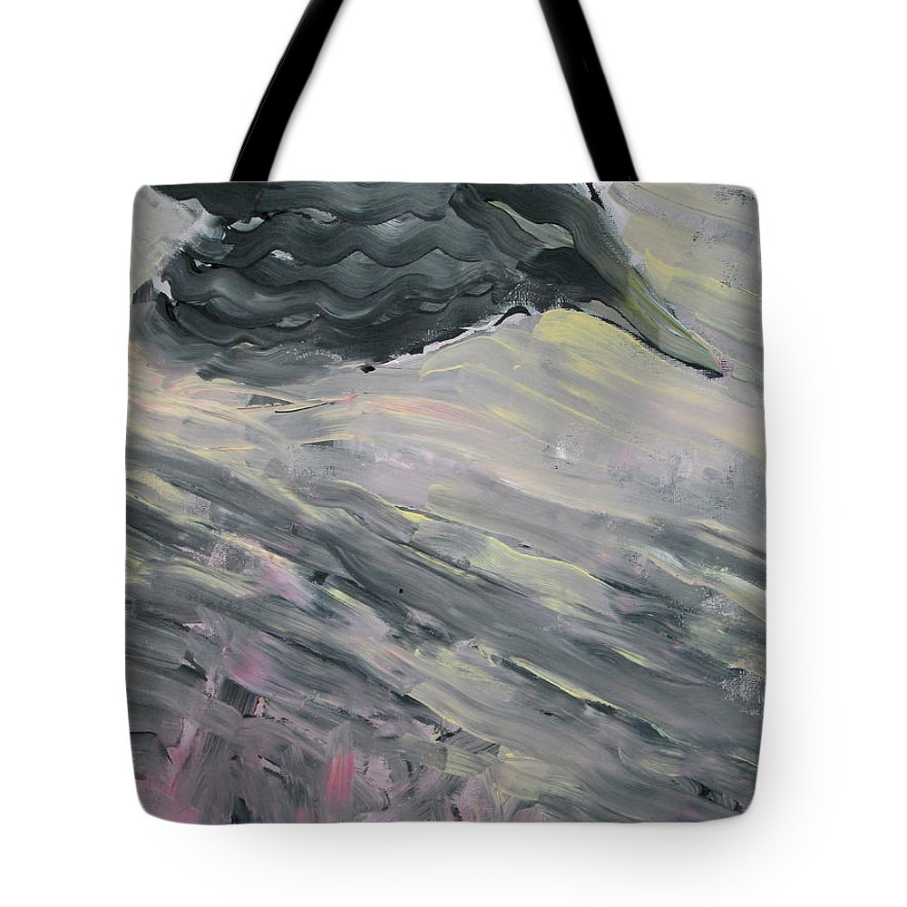 Raven Tote Bag featuring the painting Raven by Fabrizio Cassetta