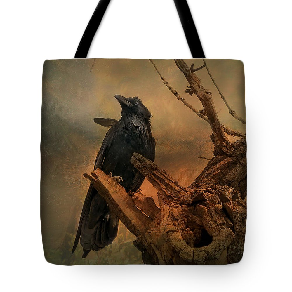 Corvid Tote Bag featuring the photograph Raven Lover by Vicki Stansbury