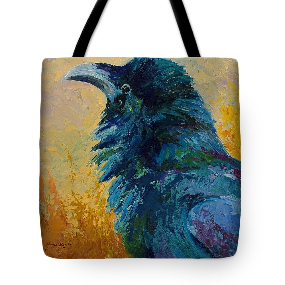 Crows Tote Bag featuring the painting Raven Study by Marion Rose